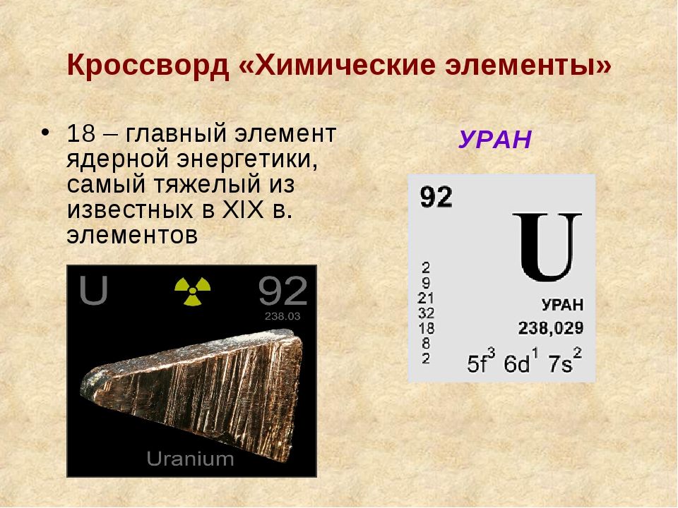 Кроссворд «Химические элементы» 18 – главный элемент ядерной энергетики, самы...
