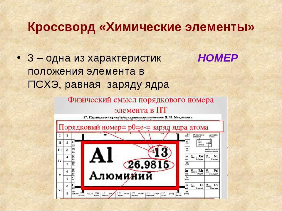 Кроссворд «Химические элементы» 3 – одна из характеристик положения элемента...