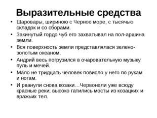Выразительные средства Шаровары, шириною с Черное море, с тысячью складок и с