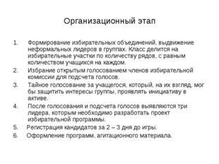Организационный этап Формирование избирательных объединений, выдвижение нефор