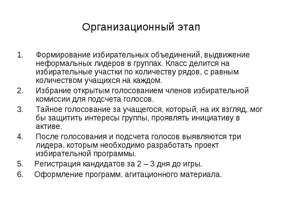 Организационный этап Формирование избирательных объединений, выдвижение нефор...
