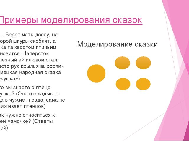 Примеры моделирования сказок 1. «…Берет мать доску, на которой шкуры скоблят...