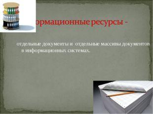 отдельные документы и отдельные массивы документов в информационных системах.