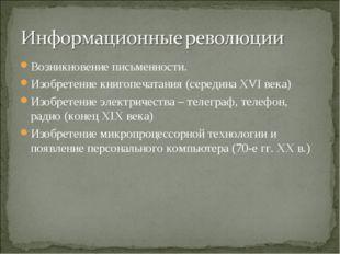 Возникновение письменности. Изобретение книгопечатания (середина XVI века) Из