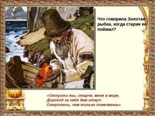 Что говорила Золотая рыбка, когда старик ее поймал? «Отпусти ты, старче, меня