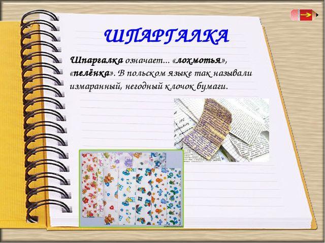 ШПАРГАЛКА Шпаргалка означает... «лохмотья», «пелёнка». В польском языке так н...