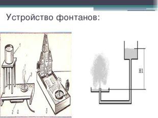 Устройство фонтанов: