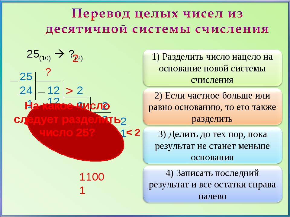 25(10)  ?(2) 25 2 12 24 1 2 6 12 0 2 6 0 3 2 1 2 1 ? 11001 На какое число сл...
