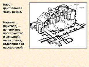 Наос – центральная часть храма. Нартекс (притвор) – поперечное пространство в