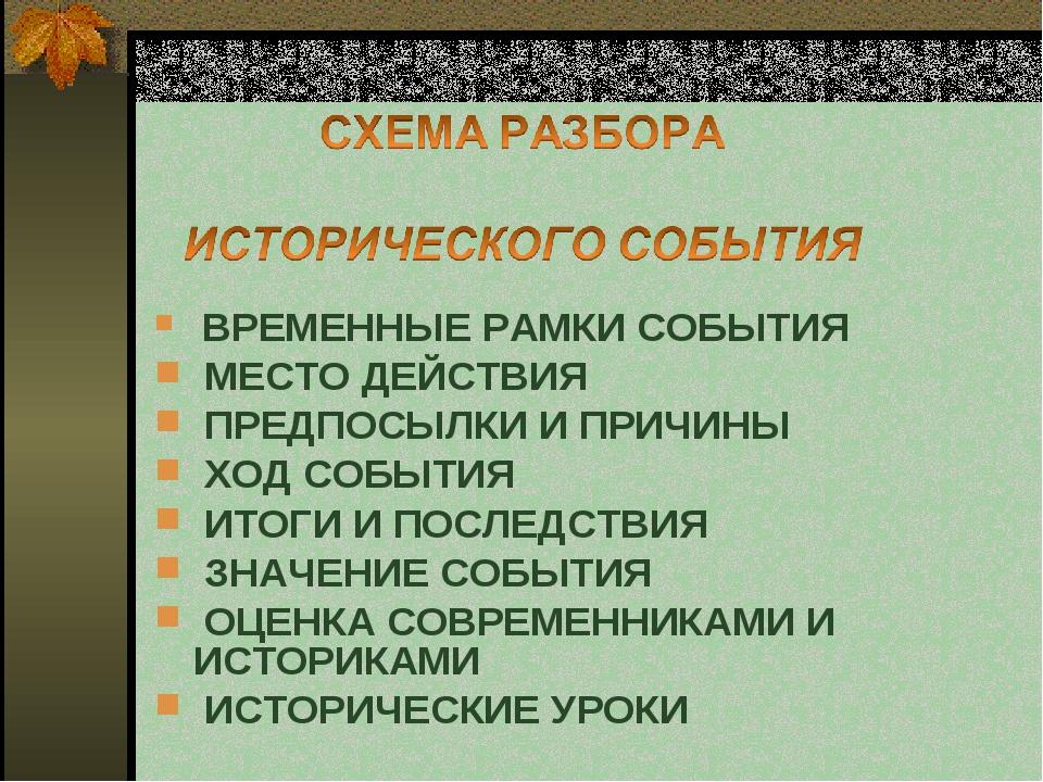 ВРЕМЕННЫЕ РАМКИ СОБЫТИЯ  МЕСТО ДЕЙСТВИЯ  ПРЕДПОСЫЛКИ И П...