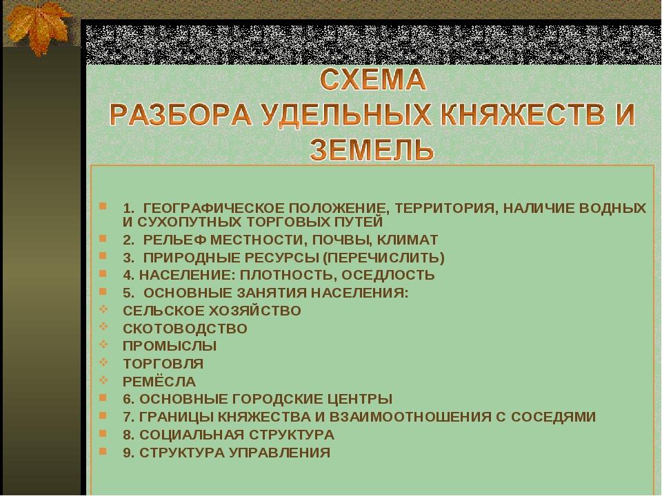 1.  ГЕОГРАФИЧЕСКОЕ ПОЛОЖЕНИЕ, ТЕРРИТОРИЯ, НАЛИЧИЕ ВОДНЫХ И СУХОПУТНЫХ ТОРГОВЫ...