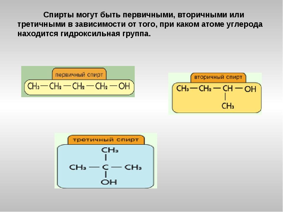 Спирты могут быть первичными, вторичными или третичными в зависимости от тог...