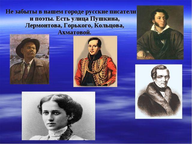 Не забыты в нашем городе русские писатели и поэты. Есть улица Пушкина, Лермон...