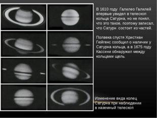 В1610 году ГалилеоГалилей впервыеувиделвтелескоп кольцаСатурна, ноне