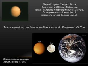 ПервыйспутникСатурна,Титан, былоткрытв1655году Гюйгенсом. Титан–наи