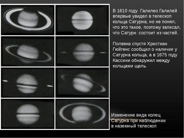 В1610 году ГалилеоГалилей впервыеувиделвтелескоп кольцаСатурна, ноне...