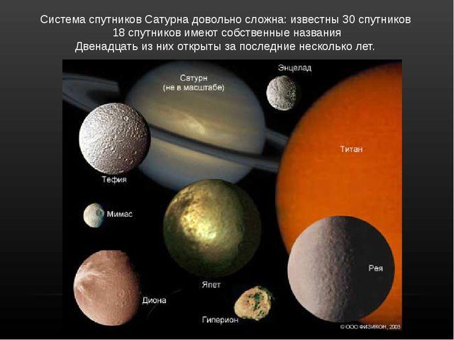 СистемаспутниковСатурнадовольносложна: известны30 спутников 18 спутников...