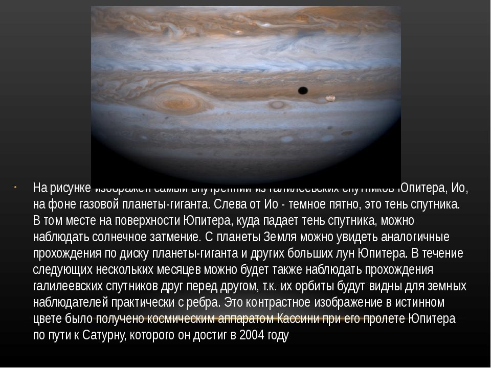 На рисунке изображен самый внутренний из галилеевских спутников Юпитера, Ио,...
