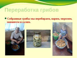 Переработка грибов Собранные грибы мы перебираем, варим, морозим, маринуем и