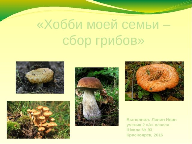 «Хобби моей семьи – сбор грибов» Выполнил: Лонин Иван ученик 2 «А» класса Шко...