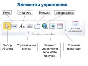 Элементы управления Выбор объекта Поле Надпись Управляющая кнопка Вкладка Гип
