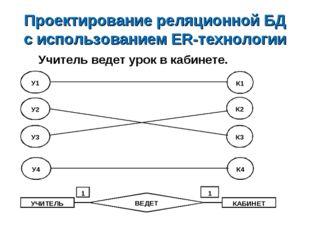 Проектирование реляционной БД с использованием ER-технологии Учитель ведет ур