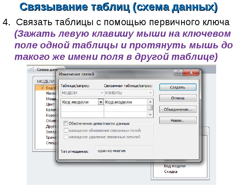 Связывание таблиц (схема данных) 4. Связать таблицы с помощью первичного ключ...