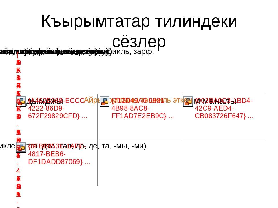 Къырымтатар тилиндеки сёзлер