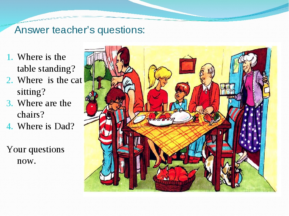 Answer teacher's questions: Where is the table standing? Where is the cat sit...