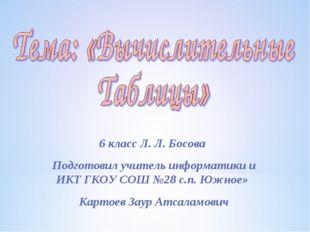 6 класс Л. Л. Босова Подготовил учитель информатики и ИКТ ГКОУ СОШ №28 с.п. Ю
