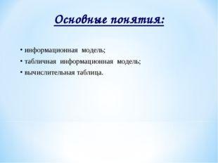 Основные понятия: информационная модель; табличная информационная модель; выч