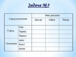 Задача № 3 Город/увлечениеИмя девушки Джуди Айрис Линда  Город Рим П