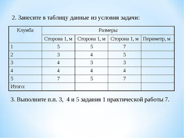 2. Занесите в таблицу данные из условия задачи: 3. Выполните п.п. 3, 4 и 5 за...