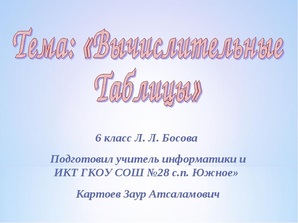 6 класс Л. Л. Босова Подготовил учитель информатики и ИКТ ГКОУ СОШ №28 с.п. Ю...