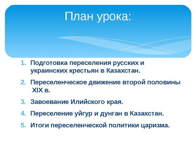 Подготовка переселения русских и украинских крестьян в Казахстан. Переселенче...