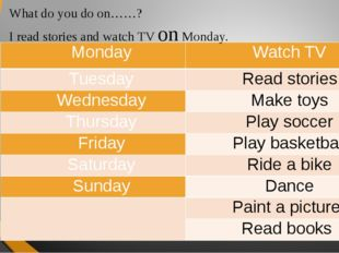 What do you do on……? I read stories and watch TV on Monday. Monday Watch TV T