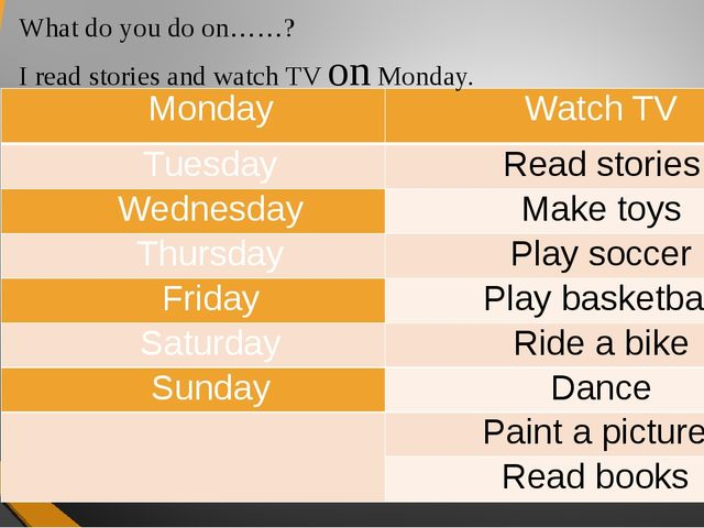 What do you do on……? I read stories and watch TV on Monday. Monday Watch TV T...