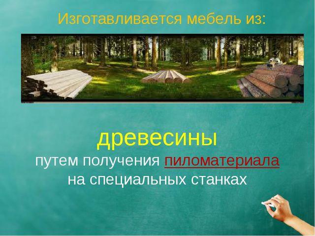 Изготавливается мебель из: древесины путем получения пиломатериала на специа...