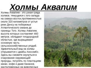 Холмы Аквапим Холмы Аквапим - это узкая гряда холмов, тянущаяся с юго-запада