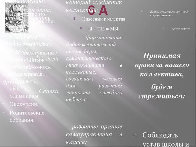 6 А Классный коллектив Я + ТЫ = МЫ Всякое существование – это сосуществование...