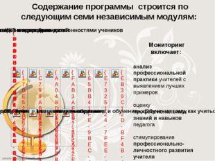 Содержание программы строится по следующим семи независимым модулям: анализ п