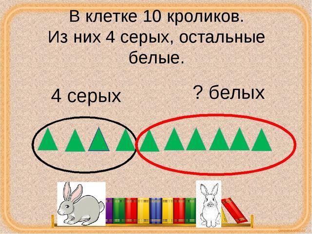 В клетке 10 кроликов. Из них 4 серых, остальные белые. 4 серых ? белых corowi...