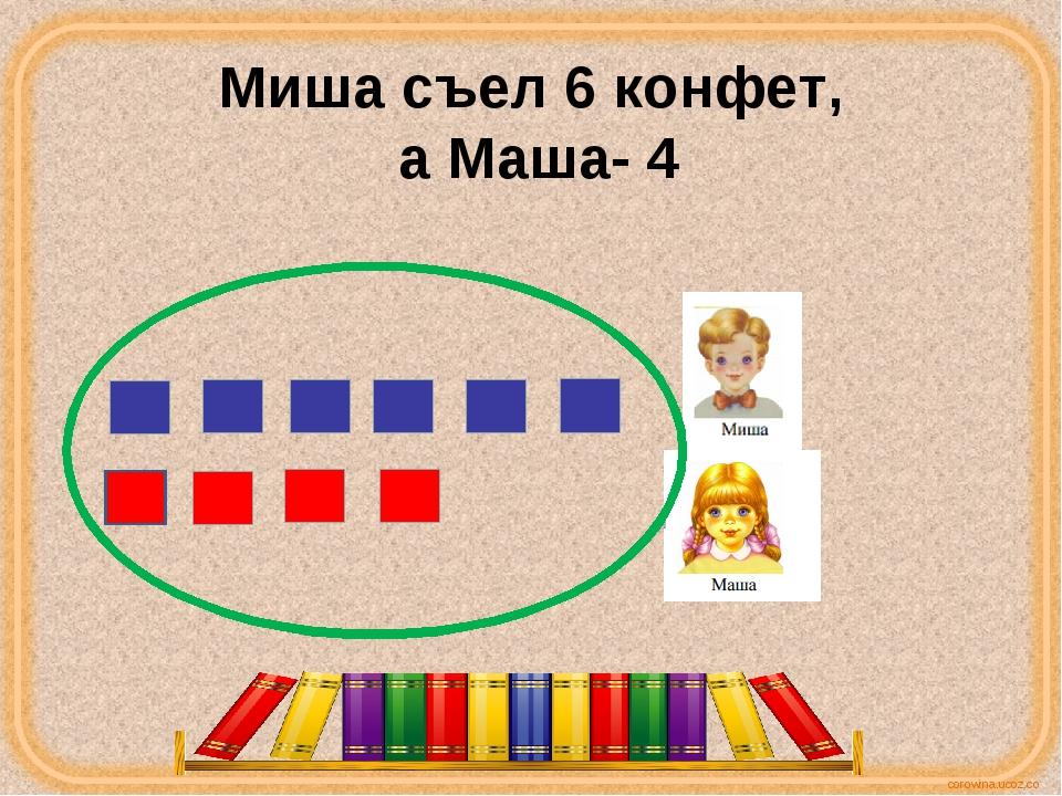 Миша съел 6 конфет, а Маша- 4 corowina.ucoz.com