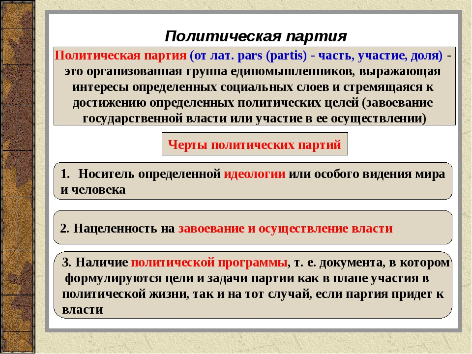 Политическая партия Политическая партия (от лат. pars (partis) - часть, участ...
