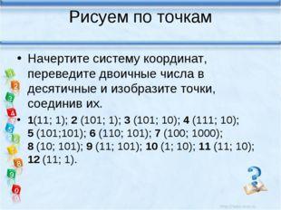Рисуем по точкам Начертите систему координат, переведите двоичные числа в дес