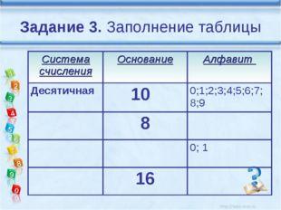 Задание 3. Заполнение таблицы Система счисленияОснованиеАлфавит Десятичная