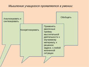 Мышление учащегося проявляется в умении: Анализировать и синтезировать Обобща
