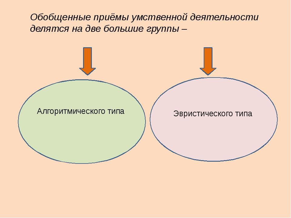Обобщенные приёмы умственной деятельности делятся на две большие группы – Алг...
