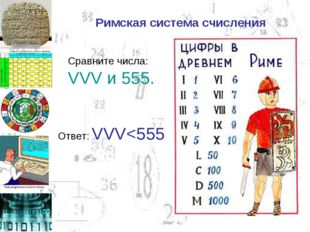 Римская система счисления Сравните числа: VVV и 555. Ответ: VVV