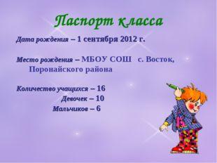 Паспорт класса Дата рождения – 1 сентября 2012 г. Место рождения – МБОУ СОШ с